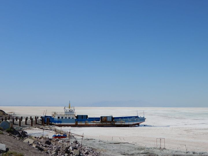 Barco varado, Urmia, Azerbayán Occidental, Irán