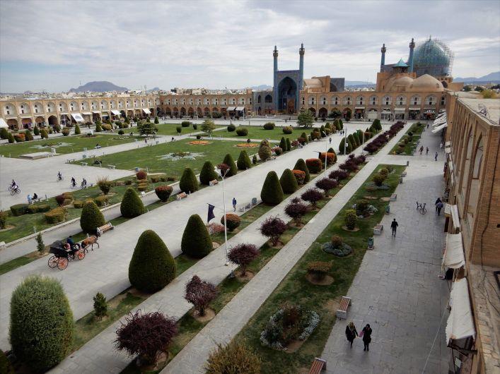 Plaza Naghsh-e-Yahan Square panoramica, Isfahan, Iran