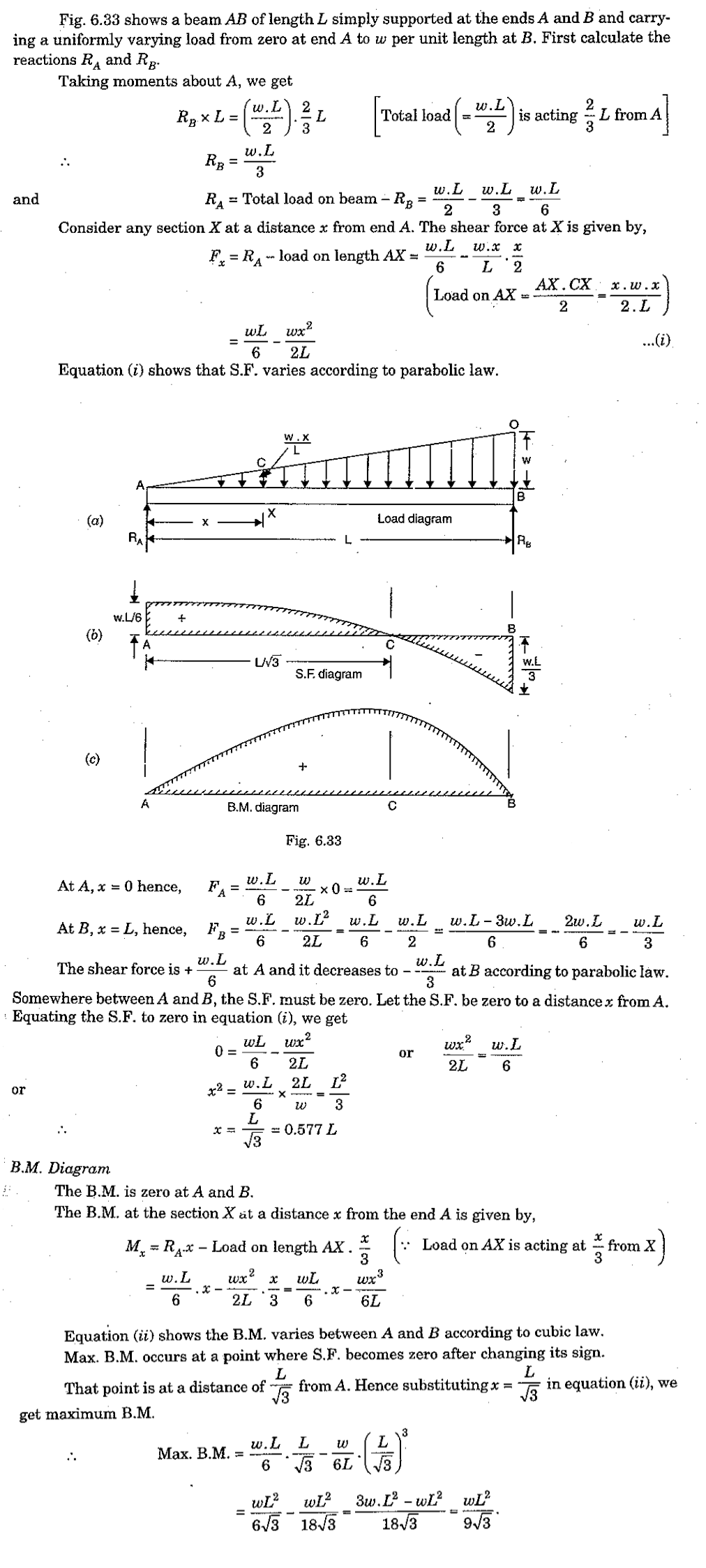 bending moment diagram for simply supported beam mtd yard machine wiring shear force and a with uniformly varying load from 0 zero at one end to the w weight other