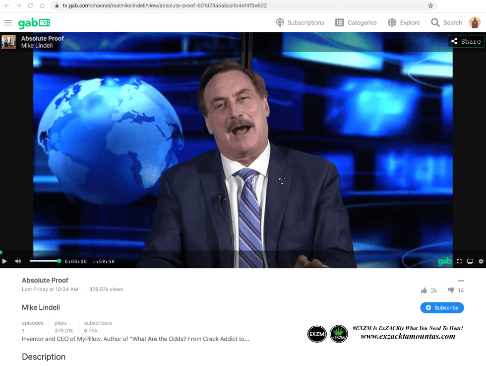 Michael J Lindell GAB TV website Absolute Proof movie documentary EXZM Zack Mount February 7th 2021