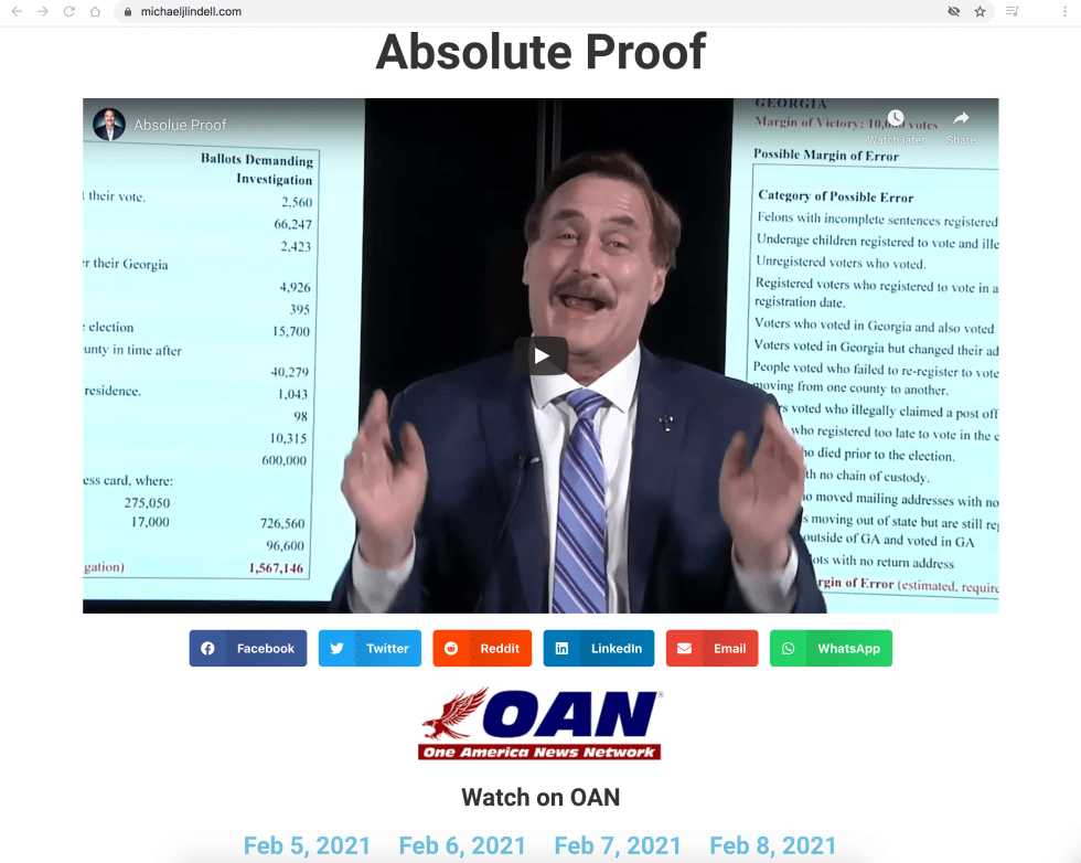Michael J Lindell website Absolute Proof movie documentary OANN EXZM Zack Mount February 5th 2021
