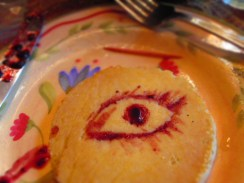 Before I ate my breakfast today, a family member inspired me to create an eye on my pancake with jelly using a toothpick. It was a lot of fun, and it gave me an excuse to eat another pancake!