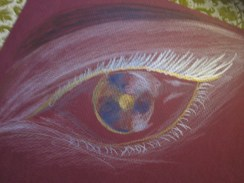 I thought I would try doing an eye on a different color of paper. As you can see, I used different effects for each one.