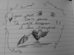 The notebook where I'm documenting my creations has suggestions in it as well. One of them was to write a ten word love story and illustrate it, so this is what was produced. I tried to give it an emphasis on the eyes.