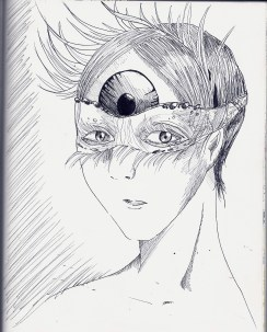 This idea came to me at the end of the school day, and I think I might experiment more with how I could represent an eye as a headdress.