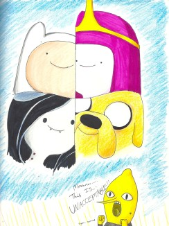 As you can probably tell, I love Adventure Time, so I decided to make a piece focusing on their eyes. It was kind of difficult, seeing as they just have dots for eyes. Yet, they still manage to have a lot of expression, which I think is quite impressive for the simple animation.