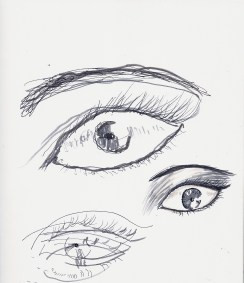 Today, I tried to draw an eye with my left hand...needless to say, it needs a lot of work! Under it, I drew an eye with my right hand, and on the bottom was an eye I drew with my eyes closed. I like how the last one turned out because it looks like it's existing in different dimensions.