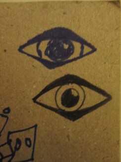 A few days ago, someone I attend school with drew this little eye. When he drew it, he started out using exclusively geometric shapes, which mirrors his normal, quirky art style. The one below is me trying to mimic it.