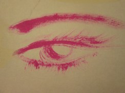 I was looking through a sketchbook I had and noticed I had painted a very simple, pink eye. I love how wispy it is, so I deemed it suitable to post. BTW, this is my 100th eye! 265 eyes to go...