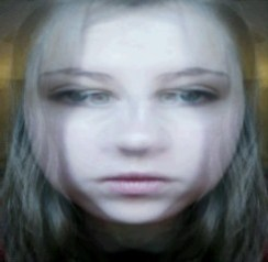 This is a picture of me merged with same picture, only reversed. I like how it made me look how I have two sets of eyes overlapping.