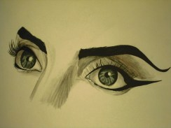 """Lady Gaga's eyes from her """"Telephone"""" music video."""