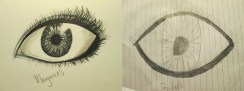 """I found this eye on the ground and decided to make my own addition to """"Rylee's"""" artwork."""