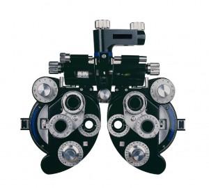Een phoropter, het apparaat waarmee de ogen kunnen worden opgemeten.