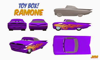 """3d prototype of """"Ramone"""" from the Cars playset."""