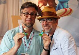 """Cool photo of Phineas and Ferb creators, Dan Povenmire and Jeff """"Swampy"""" Marsh, holding the toys I got to design. Zbrush scuplts by Bryan Allen. I love this show so much."""