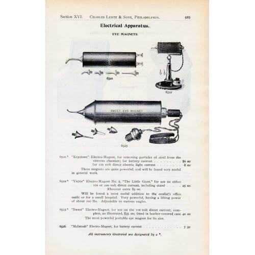 Early 1900s equipment catalog showing electric hand magnets