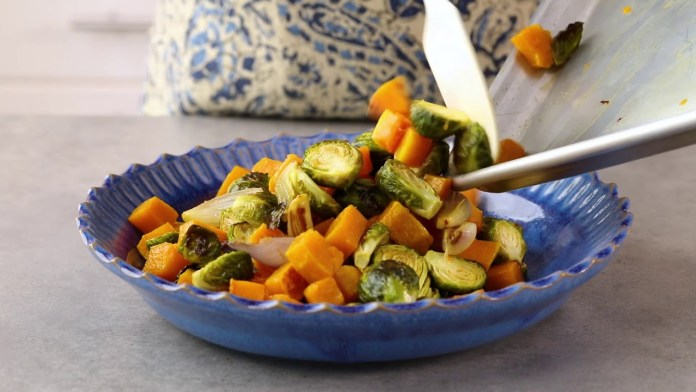 How to Make Roasted Brussels Sprout & Butternut Squash Salad | EatingWell