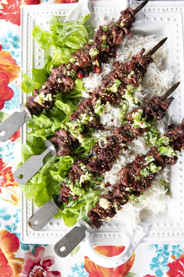 Korean Barbecue Grilled Flat Iron Steak is smoky, garlicky, unbelievably tender, and simple to prepare. This versatile main will be your new summer go-to!