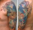 Blue Koi fish cherry blossom sleeve tattoo,new orleans tattoo, randy muller, eyecandy, icandytattoo, i candy, eye candy,