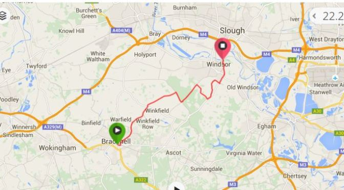 Bracknell Station to Windsor Bike Ride Map