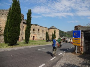 "Villafranca Castle. Michael, one of our ""Camino"" friends can be seen riding his bicicle in this picture."