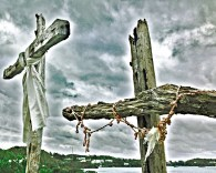 An overcast sky accentuated these dramatic cedar crosses alongside Harrington Sound.