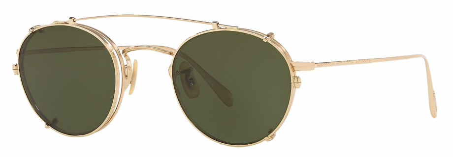 Oliver Peoples Coleridge Clip Gold _ Green 3_4 side