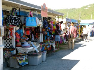 Tourist market stalls near the cruise liner terminal in Road Town, Tortola
