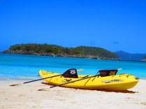 A kayak about to be launched into Cinnamon Bay, St John