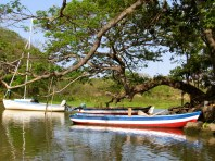 Local Nica boats docked on an islet