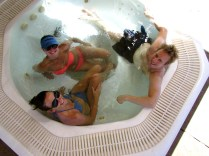 Tash, Leigh and her boyfriend, Jack in the jacuzzi.