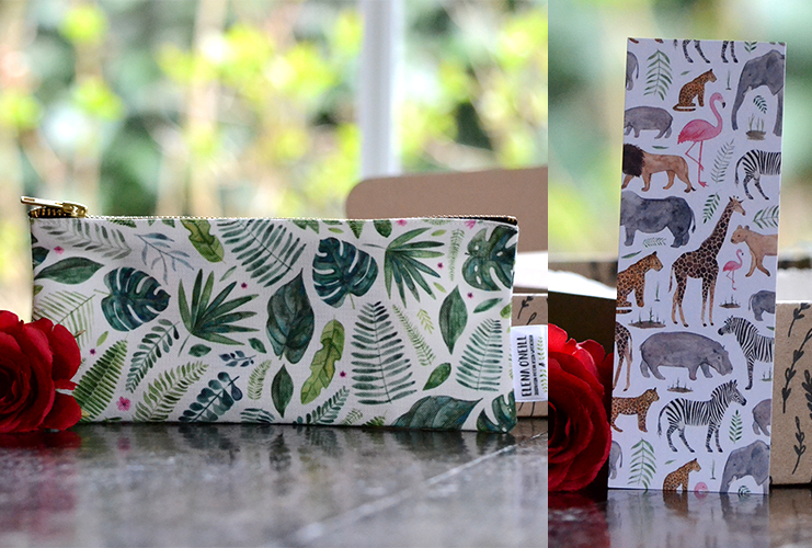 Etui of Make-up tas met Jungle Print en boekenlegger goodie uit de Secondhand Bookshelf