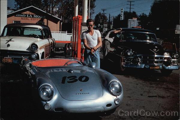 James Dean with his Porsche Spider 550