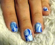 dark blue and light nail marble