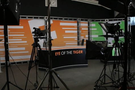 The current Eye of the Tiger broadcast studio set. The set has gone through many iterations in the past decade.