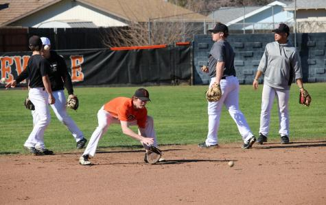 RHS baseball team during practice last year. School closures have prevented several sports, including baseball, from playing.