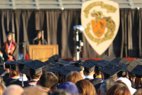 Students and guests attend Roseville High Schools 2019 graduation ceremony, held on Hanson field. This year, graduates will walk across a stage in front of the administration building.
