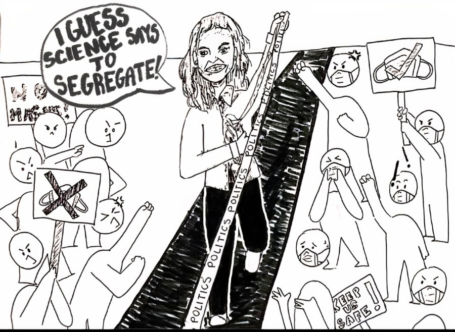 IMAGE DEPICTS HEIDI HALL DIVIDING OPPOSING SIDES OF THE COMMUNITY WITH POLITICS
