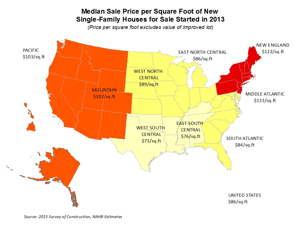 Where Are Sale And Contract Prices Per Square Foot Highest