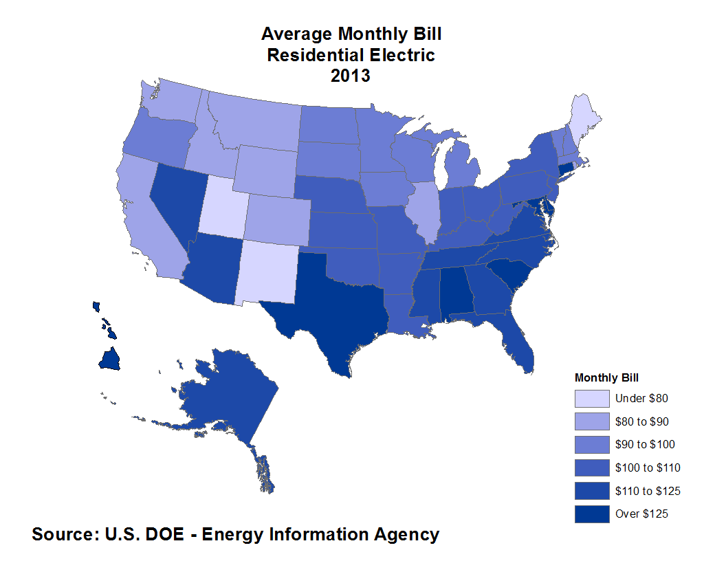 Average Monthly Electrical Bill by State – Updated Data | Eye On Housing