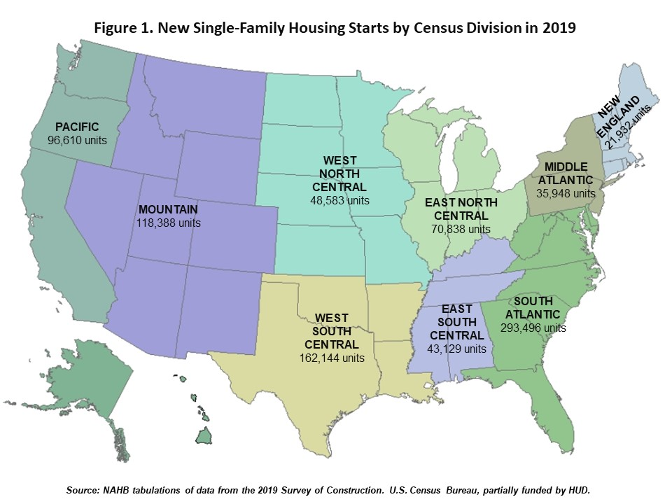 Number of new single-family starts by census division, 2019