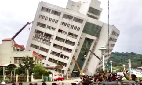 A residential apartment caved in as a magnitude 6 earthquake struck Hualien in eastern Taiwan on Feb 6, 2018.