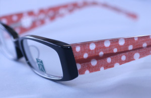 Traditional Japanese fabric inlaid in eyeglass frame temples