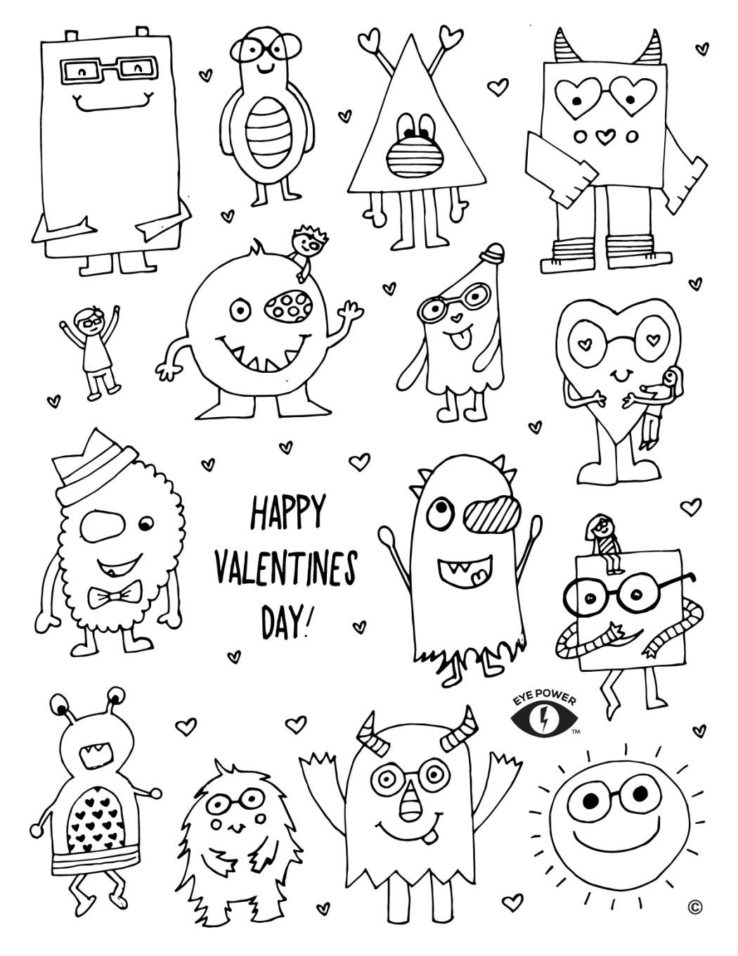 Free Valentines Coloring Page Printable - Eye Power Kids Wear