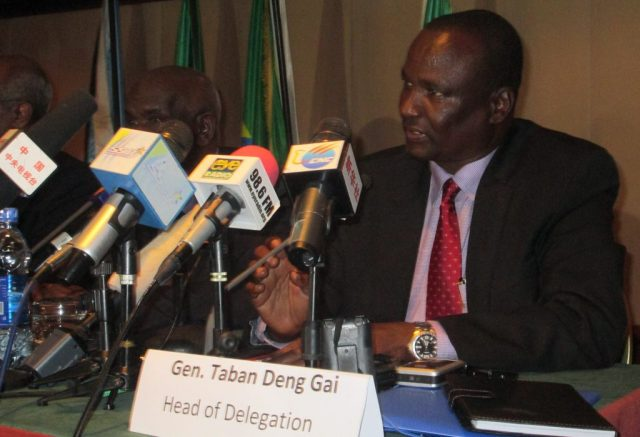 Taban Deng Gai, SPLM-IO Chief Negotiator in a 2014 press conference in Addis Ababa
