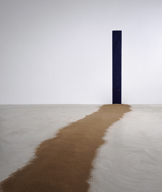 Giovanni Anselmo, l sentiero verso oltremare [On the road to (blue) ultramarine], 1992-2013. Soil and Blue ultramarine. Partial View. Photo: Paolo Mussat Sartor, Turín. Courtesy of Archivio Anselmo, Turín, anf Kunstmuseum, Winterthur, 43 Salón (inter) Nacional de Artistas in Medellin, 2013