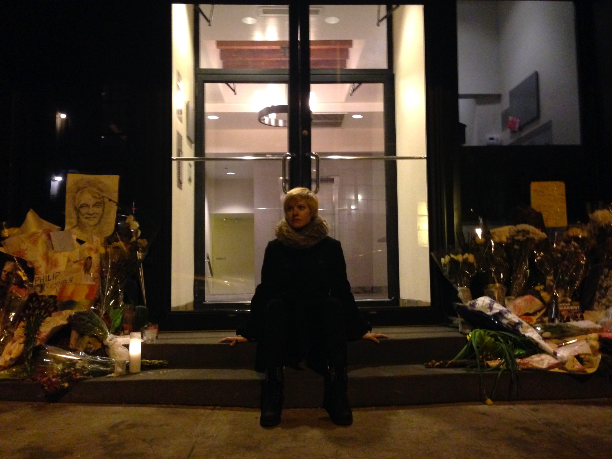 One week later, Editor and author of ETTD Katy Diamond Hamer in front of the Hoffman residence in Greenwich Village, Photograph by Oliver Warden, 2014