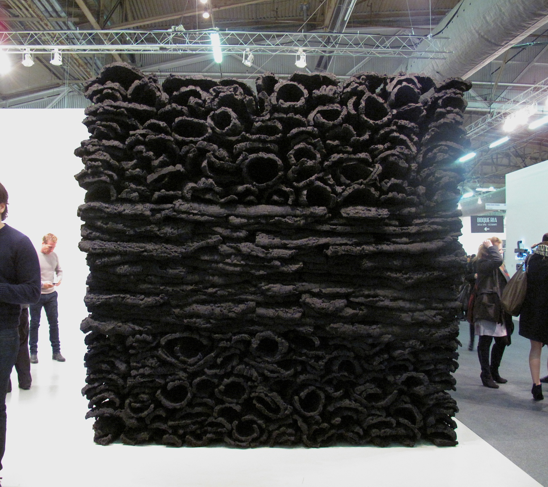 Galerie Forsblom, Jason Martin, Behemoth, 2012 Virgin cork and pure pigment (ivory black) The Armory Show, New York, 2014, Pier 94
