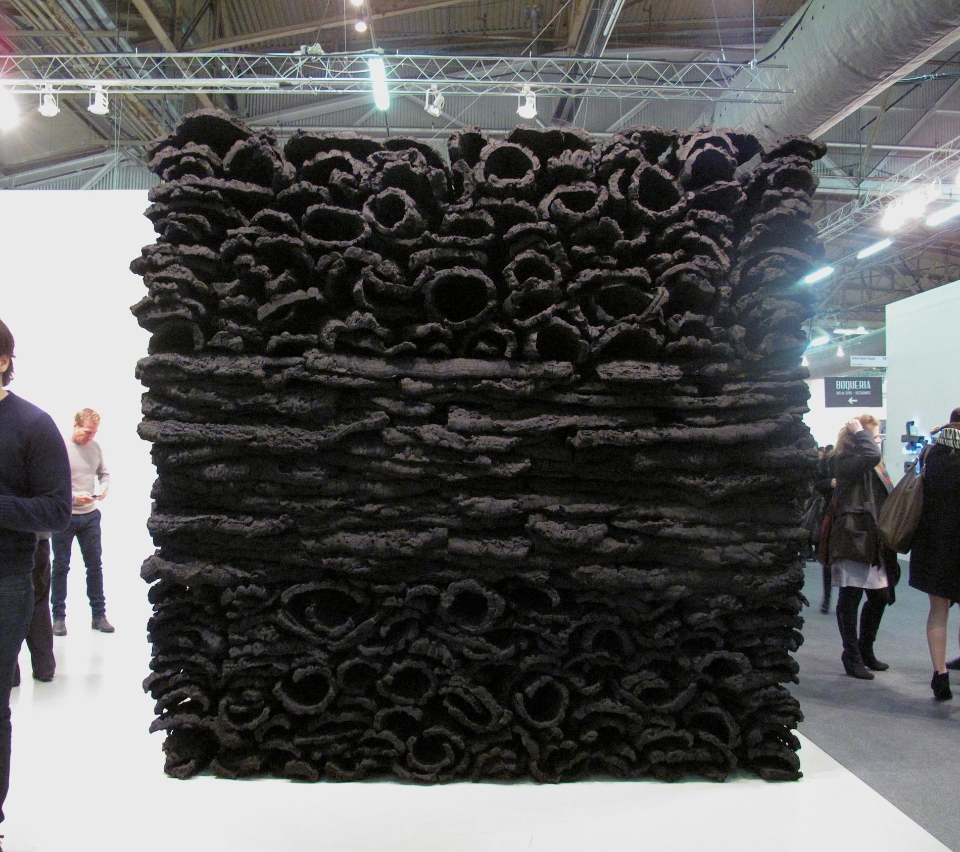 Galerie Forsblom, Jason Martin, Behemoth, 2012 Virgin cork and pure pigment (ivory black) The Armory Show, New York, 2014, Pier 94