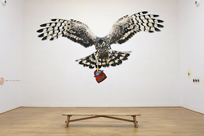 Sarah Tynan, Mural of Hen Harrier, 'A Good Day for Cyclists', acrylic on wall, British Pavilion, Venice Biennale 2013
